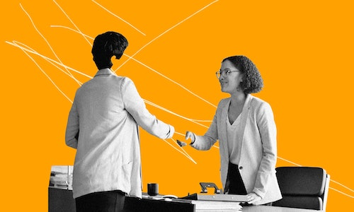 Illustration of a faceless job candidate shaking hands with an interviewer.